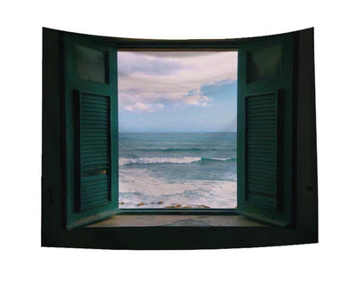 Sea Out of Window Wall Tapestry Home Decor Wall Hanging