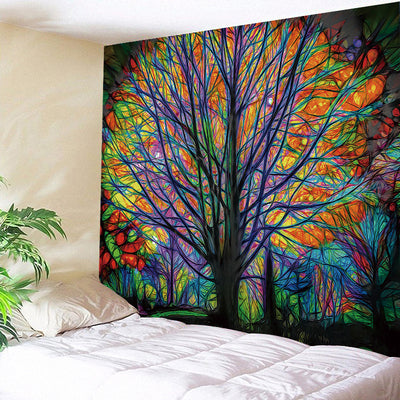 Dreamlike Tree of Life Tapestry Psychedelic Forest with Birds Wall Hanging Bohemian Yoga Decorations Bedroom Living Room Dorm