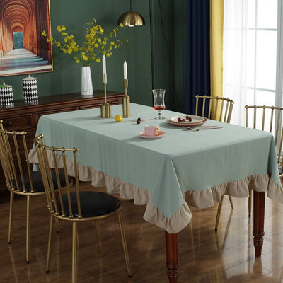 European Style Nostalgic Lotus Edge Simple Tablecloth for Washed Folded Cotton Table Cover for Parties Holiday Dinner Table