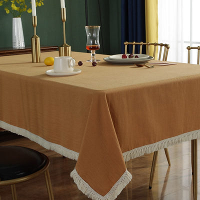 Modern Tassel Cotton Linen Table Cover Multi-function Tablecloth for Restaurant Party Dining Living Room Decor