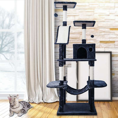 5 Tier Cat Tree Climbing Tower Scratcher Activity Centre 170cm With Hammock