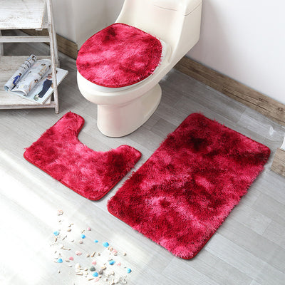 Non-Slip Grey Bath Mat Thickened Fluffy Microfiber Absorbent Rug Quick-Drying Machine Washable