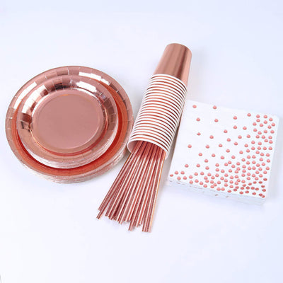 Rose Gold Birthday Party Decorations Set 24 Guest Girls Lady with Birthday Banner Curtains Table Runner Balloons Plates Cups Tissue