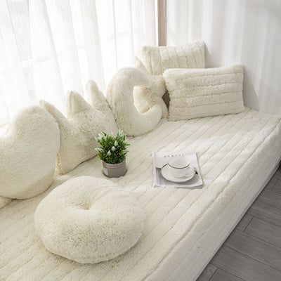 White Plush Bay Window Seat Pad European Style Thick Not-Slip Decorate Balcony And Bedroom Machine Washable