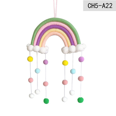 Rainbow Wall Hangings Boho Decoration with Cloud Macrame for Children Kids Room Nursery Room Decor