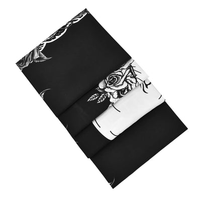 Kissing Skull Lovers Tapestry Black and White Human Skeleton Wall Hanging with Rose Wreath Home Decor Art for Room