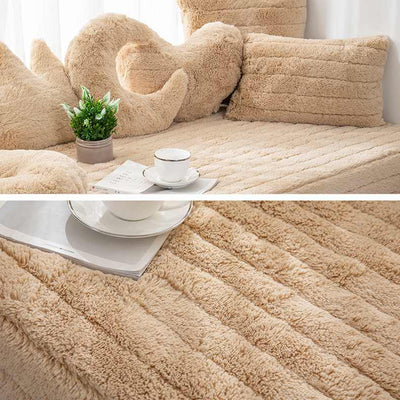 Camel Plush Bay Window Seat Pad European Style Thick Not-Slip Decorate Balcony And Bedroom Machine Washable