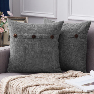 Pack of 2 Multi-Colour Linen Cross Shape Button Square Throw Pillow Case Cushion Cover Sofa Chair Couch 18x18 inch 45x45cm