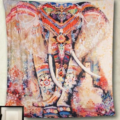 Pink Elephant Tapestry Wall Hangings Hippie Trippy Large Tablecloths Home Decoration For Bedroom Living Room