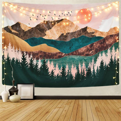 Pink Sunset Forest Tapestry Psychedelic Tree Mountain Wall Hanging Nature Landscape Art Home Decoration for Bedroom Living Room