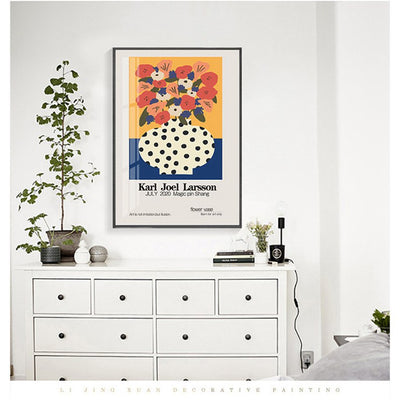 Flower Love-Polka Dot 30X40cm Framed Printings Nordic Ins Floral Vase Natural Design Bedroom Corridor Bedside Modern Hanging Wall Art