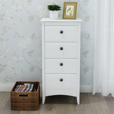 Wooden Tall 4-Drawer Cabinet Anti-Tipping Storage Chest Bedroom Hallway