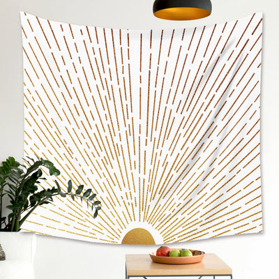 Abstract Sunshine Lines Tapestry Golden Sunset Sun Rise Wall Hanging Home Decoration for Bedroom Living Room