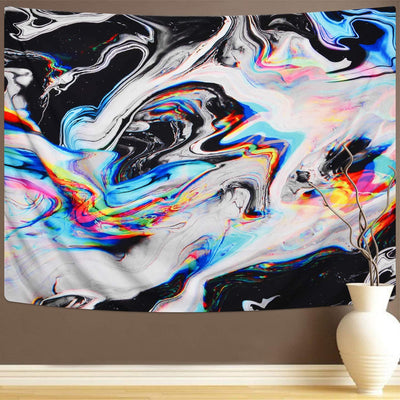 Marble Swirl Colourful Gouache Tapestry Psychedelic Natural Landscape Trippy Wall Hanging for Room Bedroom