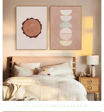 Sun And Moon-Annual Ring 30*40cm Framed Painting Nordic Modern Abstract Style Bedroom Living Room Hanging Art Mural