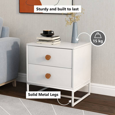 Modern Nightstand with 2 Drawers, Side Table with Wood Handles for Home Office Living Room Bedroom, Coffee Table