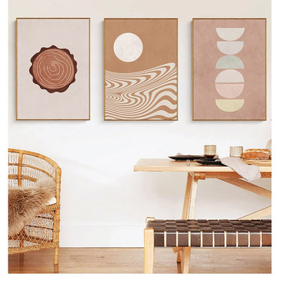 Sun And Moon-Quarter Moon 30*40cm Framed Painting Nordic Modern Abstract Style Bedroom Living Room Hanging Art Mural