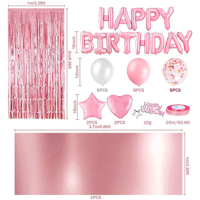 Pink Birthday Party Decoration with Happy Birthday Banner Rose Gold Fringe Curtain Foil Tablecloth Heart Star Foil Confetti Balloons and 10g Table Confetti