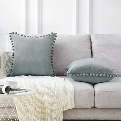 "Pack of 2 Multi-Size Grey Tassel Soft Velvet Cushion Covers Balls Decorative Throw Pillowcase Cover 12x20"" 18x18"""