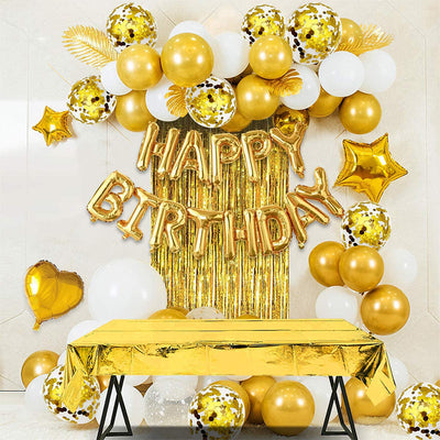 Gold Birthday Party Decoration Happy Birthday Banner Rose Gold Fringe Curtain Foil Tablecloth Heart Star Foil Confetti Balloons Table Confetti