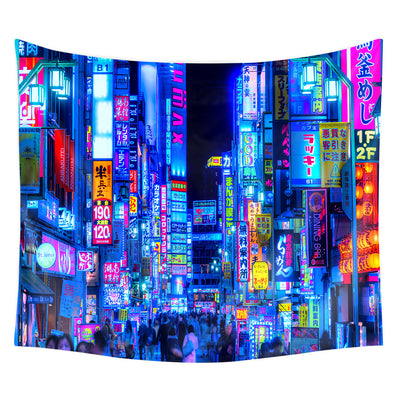 Blue Tokyo Alleys Tapestry Modern City Wall Hanging Home Decoration for Bedroom Living Room