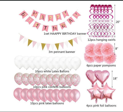 Pink Balloons Birthday Party Decorations Happy Birthday Banner Tissue Paper Flowers Hanging Swirls for Birthday Party Supplies