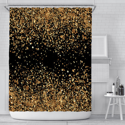 180x180cm Black Printing Shower Curtain with Gold Powder Waterproof Bath Curtain