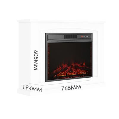 28 inch 1.8KW Electric Fireplace with Cabinet Surround LED Fire Log Flame Effect