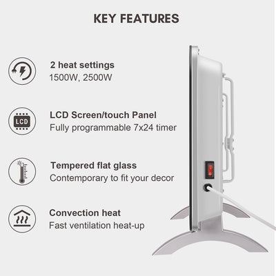 2.5KW Digital Remote Control Convection Mirror Panel Heater with Timer 2 Colour