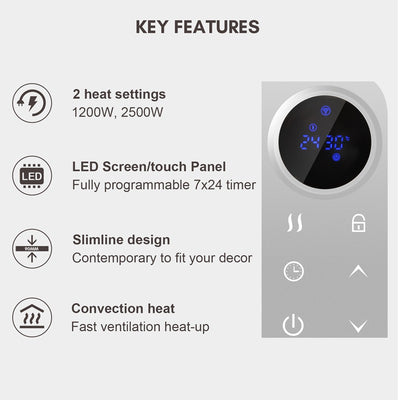 2.5KW Slim Digital Remote Panel Heater With 24*7 Timer