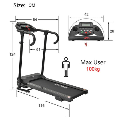 Compact Foldable Electric Treadmill Running Machine with Lcd Display Ipad Holder