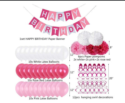 Pink and White Balloons Birthday Party Decorations Happy Birthday Banner Tissue Paper Flowers Hanging Swirls
