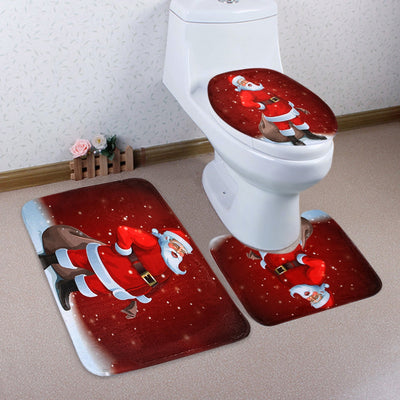 Christmas Santa Claus Pattern 3 Pcs Toilet Mat Bath Mat