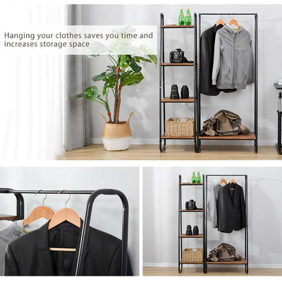 Standing Hall Tree Coat Stands with Shoe Rack Storage Cabinet Wardrobe 4 Tiers Ladder Bookshelf Shelving 150cm