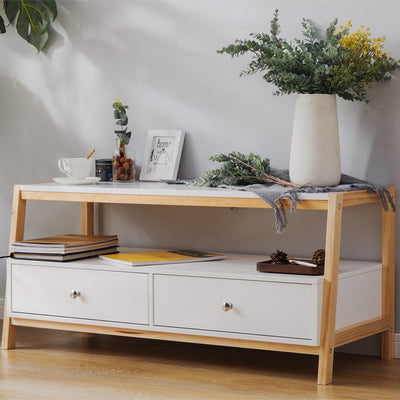 Modern Pine Wood Coffee Table TV Unit with Drawers Simple Style Wood Frame Table