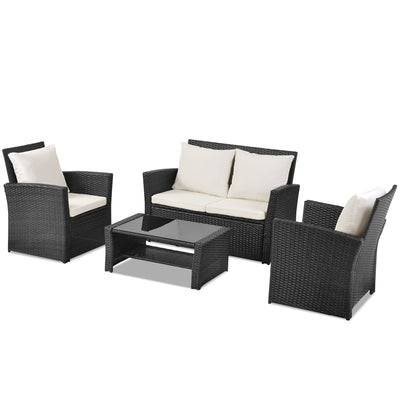 4 Pcs Outdoor Patio Rattan Sofa Set Garden Conversation Furniture