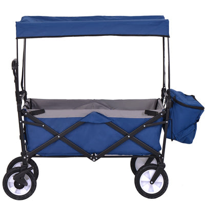 Foldable Garden Cart with Removable Canopy 4 Wheels Trolley Wagon