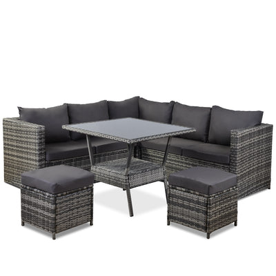 6 Seater Patio Outdoor Ratten Conversation Sofa Set with Couch Dining Table 2 Stools