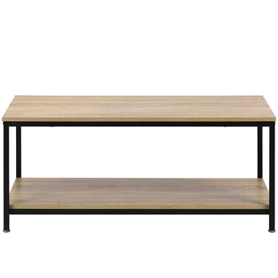Minimalist Metal Frame Coffee Table Simple Style Large Storage Shelf