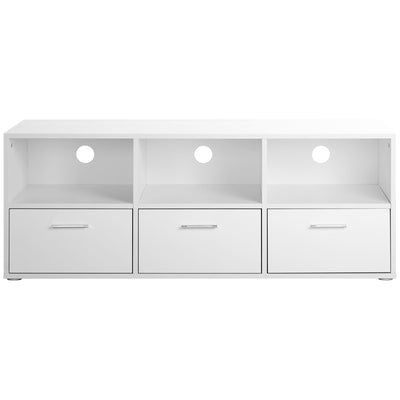 3 Drawers White Wooden TV Cabinet 120x40x46