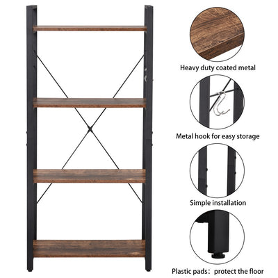 4-Tier Bookshelf Storage Rack Office Bookcase with Stable Steel Frame