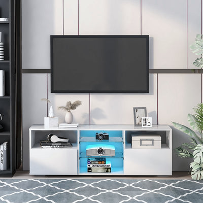 White Led Tv Stand Modern Tv Unit Cabinet Table with Storage and 16 Colors Led Rgb Lights