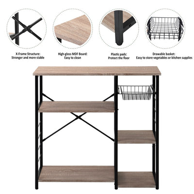 Industrial Kitchen Trolley Microwave Oven Stand Kitchen Baker's Rack Mini Oven Simple Assembly Wood Look Oak