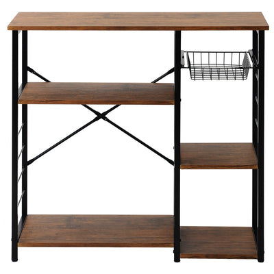 Industrial Microwave Oven Stand Kitchen Baker's Rack Mini Oven Simple Assembly Wood Look Brown
