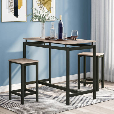 Oak Industrial Bar Set Bar Table with 2 Bar Stools Kitchen Counter with Bar Chairs