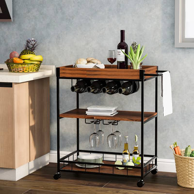Brown Rustic 3-Tier Kitchen Trolley with Universal Casters with Brakes Kitchen Utility Cart with Removable Tray