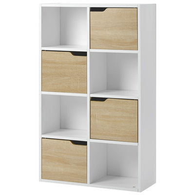 Wooden Storage Cabinet Compartment Display Rack Bookcase Cube Storage Unit 4 Tier Bookshelf