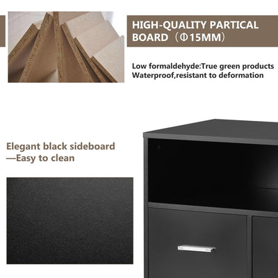 Modern Storage Cabinet with 2 Drawers and 1 Door 3 Open Shelves Sideboard Table TV Unit