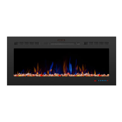 1.5kW 50inch Thin Electric Fireplace Insert Wall Mount, 2 Heat Setting, 1-9H Timer, 5 Flame Effect, Remote Control, Safety Cut-out, Thermostat