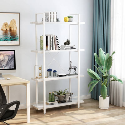 4 tier storage bookshelf Ladder Shelf standing bookcase living room display wooden shelf for home /office industrial designs Easy Assembly Unit Plant Stand with Metal Frame